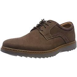 Clarks Un Geo Lace, Zapatos de Cordones Derby para Hombre, Marrón (Dark Brown Nubuck), 44 EU