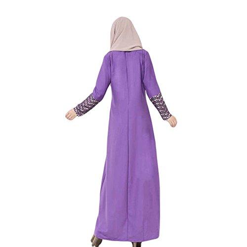 Meijunter Femme Musulman Arab Robe Middle East Kaftan Abaya Lace Stitching Dress purple