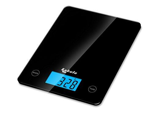 Kabalo Noir numérique Balance de cuisine, pour les ménages, la cuisson, la pesée. 5 kg capacité 5000g / 1g, Piles comprises! Conception mince, avec Digital écran LCD électronique avec rétroéclairage bleu