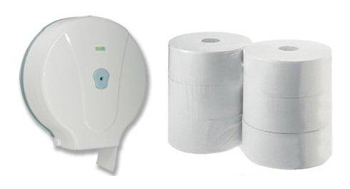 Jumbo Toilettenpapierspender, Toilettenpapierhalter + 6 Rollen Toilettenpapier im Set, Test