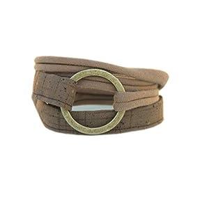 breites Armband braun – Wickelarmband onesize mit bronzefarbenem Ring
