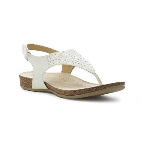 Country Jack pour femme en cuir blanc orteil Post Sandales Blanc - blanc
