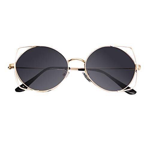 BOLANQ Sonnenbrille Damen, Sonnenbrillen für Frauen, Cat Eye Mirrored Flachlinsen Metallrahmen Sonnenbrillen(Grau)