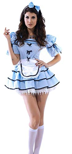 Fancy Me Damen Sexy 3-TLG. Sicht Glas Alice im Wunderland Halloween Kostüm Kleid Outfit - Blau, Blau, ()