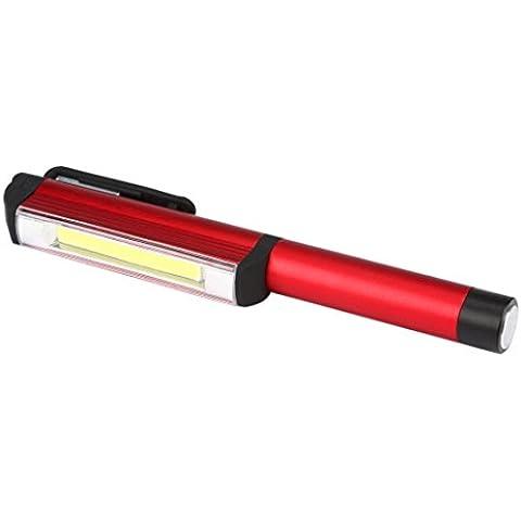 Torcia Elettrica Clode® Lampada del Lavoro Magnetico Ispezione Luce Della Lampada in Alluminio COB LED Pen Pocket Torch (Colour : Rosso)
