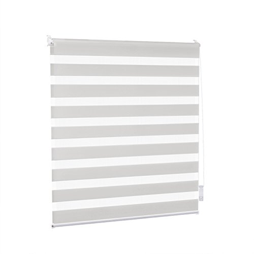 Double Store enrouleur Jour /Nuit Sans perçage 60 x 180 cm Gris clair - Easy Fix