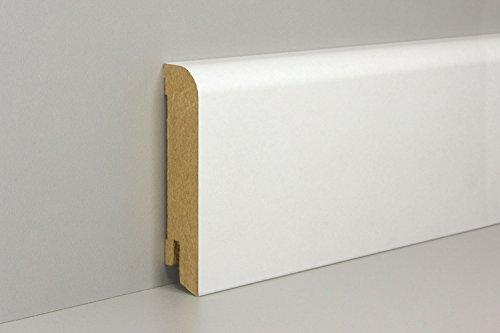 KGM Sockelleiste weiß 78mm   Rund Fussleiste weiss 18x78mm ✓elegante Rundung ✓weisse Leiste ✓Kabelkanal   Edle mdf Sockelleisten weiss Folie   Fussleisten für Laminat & Parkett   Länge 2.5m