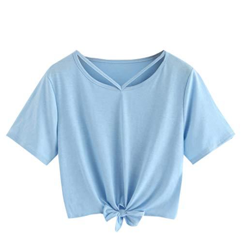 Zegeey Damen T-Shirt Kurzarm Rundhals Solide Kurz Sommer Oberteil Top Bluse Crop Tops Shirt Sport Fitness(Blau,EU-36/CN-S)
