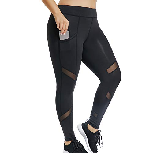 Joyshaper Sports Leggings with Pockets for Women Black Mesh Capri Trousers Yoga Pants Tights Gym Workout Fitness Training Athletic Stretchy Skinny Slim Tummy Control (Black, X-Large)
