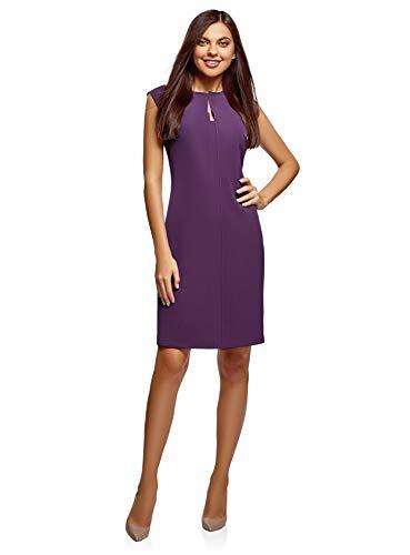 oodji Collection Damen Enges Kleid mit Geformtem Ausschnitt, Violett, DE 38 / EU 40 / M