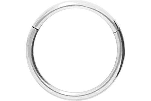 Piercingline - piercing ad anello in acciaio chirurgico con chiusura a scatto, per setto nasale, helix, trago, colore e dimensioni a scelta, colore: argento, cod. sl280c-8