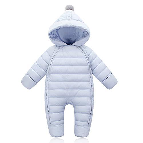 G-Kids Baby Schneeanzüge Daunenanzug Winter Overall Strampler mit Kapuze Mädchen Jungen Winterjacke Jumpsuit, Blau, 6-9 Monate