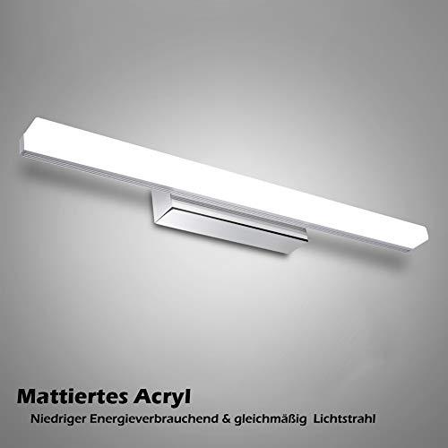 12W LED Spiegelleuchte Badleuchte - 50cm 6000K Weißlicht Edelstahl Spiegellampe für Badezimmer Schminklichte Schrankleuchte [Energieeffizienzklasse A ++]