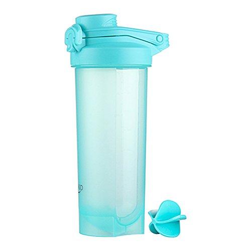 700ml proteine shaker bottiglia con palla a spirale senza bpa, coperchio a prova di perdite con pratica maniglia palestra fitness per bevande sportive, integratori nutrizionali in polvere (blu)