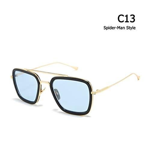 XIAOXINGXING Mode Rächer Tony Stark Flight Style Sonnenbrille Männer Platz Aviation Brand Design Sonnenbrille Oculos De Sol (Lenses Color : C13 Spider Man Style)