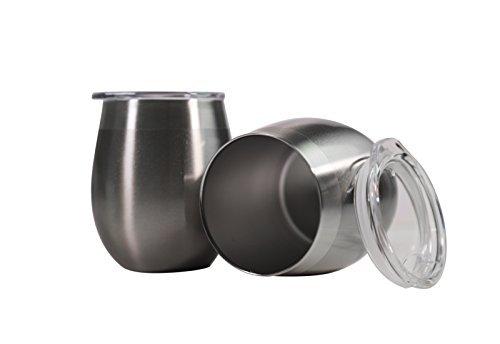 Edelstahl Wein Gläser Trinkgläser, Set von 2Luxus Premium Grade Edelstahl rot & weiß ohne Stiel Wein Gläser W/Deckel, unzerbrechlich, tragbar, Vakuum versiegelt & isoliert, BPA-frei silber