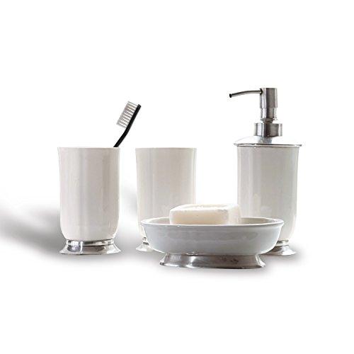 Loberon Bad-Set Millicent, Keramik/Messing, H/B/T ca. 25/25 / 25 cm, weiß/Silber