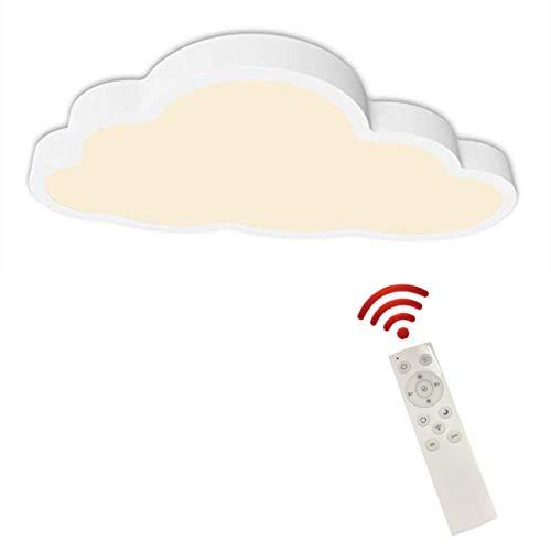 Plafón Lámpara de Techo LED Regulable con mando, Ultrafino, de diseño de Nubes Luz de Techo para niños, de habitación, salón (atenuación continua, Borde blanco (50 * 28 cm) 36 W)