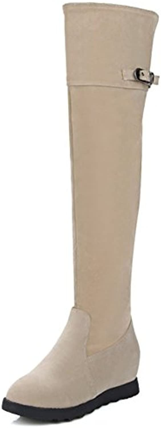3f370c1174e Easemax Women s Trendy Round Toe Mid Mid Mid Wedge Hidden Heel Faux Suede  Above Knee High