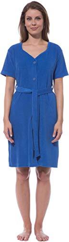 Wellness-kleid (Morgenstern Strandkleid Damen Frotteekleid zum Knöpfen L Sommerkleid einfarbig Frauen frottee Baumwolle bademode Kurzarm frottier Kleid)