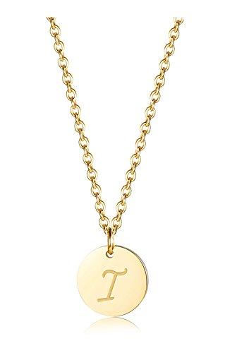 alskette für Herren Damen Alphabet Halskette Initiale Kette Männer Buchstaben I Goldton 46+5CM ()