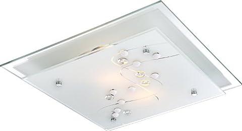 globo 48092-2 E27 2 x ILLU Metal White Chrome Ballerina I Ceiling Lamp