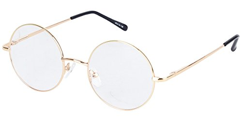 a1448ff7d2 Agstum Round Retro Metal Prescription Ready Glasses Frame Clear Lens (Gold