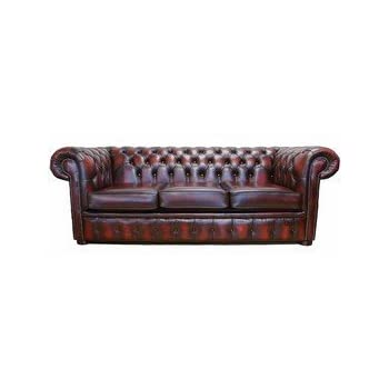 Superbe Chesterfield 3 Seater Antique Oxblood Leather Sofa Offer