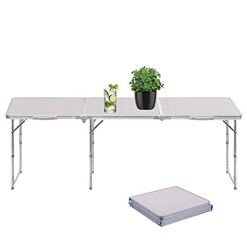 Sunreal Mesa Plegable portátil 1,82 m Ajustable Plegable para Camping/Cocina/Mesa de Trabajo para Picnic/Barbacoa/Cena...