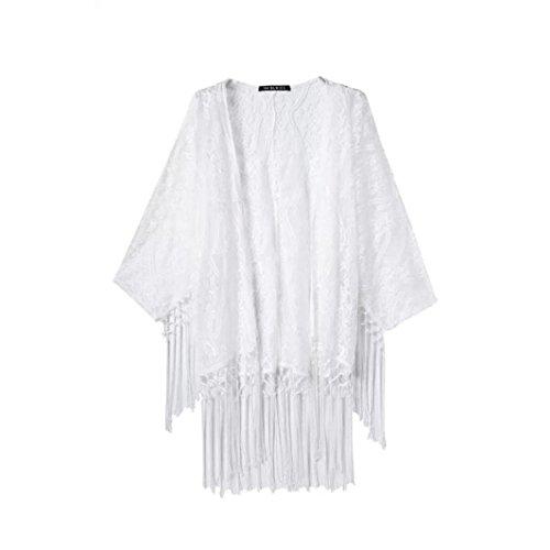 HCFKJ 2017 Mode Damen Durchsichtig Spitze Kimono Cardigan-Hemd-Bluse Quasten Top Mantel (M, Weiß)
