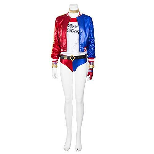 QWEASZER Film Anime Selbstmordkommando Harley Quinn Kostüm Damen Kostüm Erwachsene Jacke, T-Shirt, Shorts Halloween Cosplay Kostüm Filmrequisiten Deluxe Edition,Clown Harley - Leder Harley Quinn Kostüm