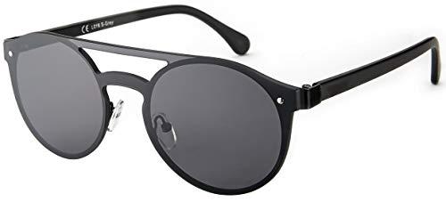 La Optica B.L.M. UV400 CAT 3 CE Herren runde Sonnenbrille ohne Rahmen - Einzelpack Metal Schwarz (Gläser: Grau)_LO16 S-Grey