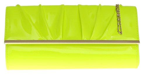Girly HandBag übergroß Lack Kunstleder Handtasche Abend Clutch (Neon Gelb) (Übergroße Handtasche)