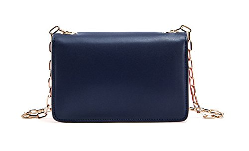 Donna Pelle Lotta A Colori Slot Multi-Card Singola Spalla Crossbody Bag. Blue
