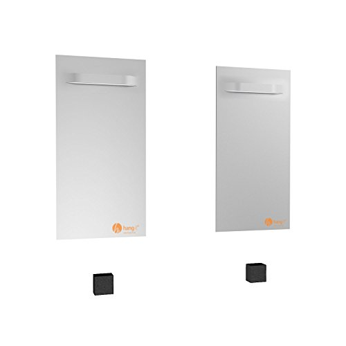 hang-it Spiegel Aufhänger Set L - inkl. 2 200x100mm Spiegelaufhänger Spiegelhalter und 2 Abstandshalter