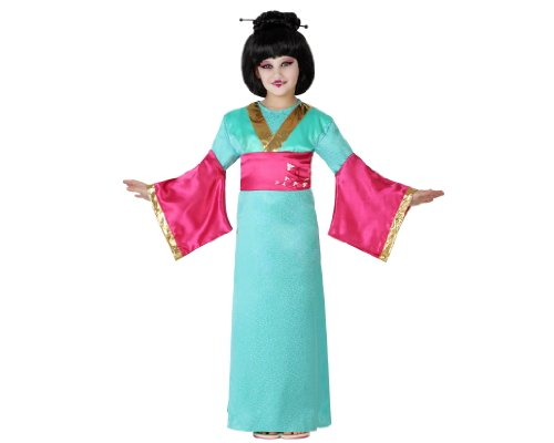 ATOSA 23650 - Geisha Mädchen Kostüm, Größe 104, grün/rot (Geisha Kleid Rot Kostüm)