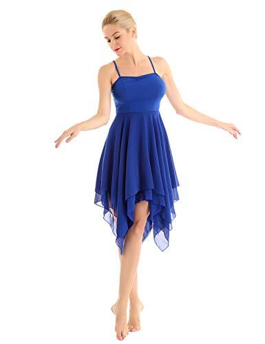 2-schicht Damen Wickelrock (YiZYiF Damen Tanzkleid mit Asymmetrisch Rock Ballett Trikot Ballettleid Chiffon Wickelrock Leotard Kleid Gymnastik Latin Tango Kleid Tanzkostüm Blau Medium)