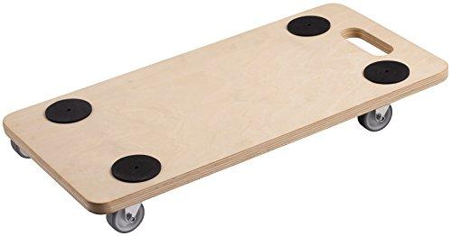 Metafranc Transportroller 590 x 290 mm - 200 kg Tragkraft - Sperrholz - PU-Räder / Möbelroller / Transporthilfe für Umzug / Rollwagen für Möbel-Transport / Kistenroller aus Holz / 822100 -