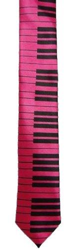 Fancy Dress Klavier Kostüm - PINK PIANO KRAWATTE KOSTÜM ZUBEHÖR MUSIKALISCH FUCHSIA & SCHWARZER DRUCK MUSIC KRAWATTE SEIDE