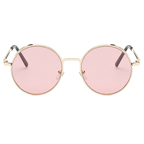 Prettyia Unisex Runde Polarisierte Kreis Sonnenbrille Hippie Vintage Hennen Gläser - Rosa