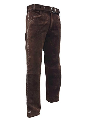 Trachten Lederhose lang inklusive Gürtel in Braun farbe Echt Leder Trachtenlederhosen Gr. 46-62 (taillenmaß stehen im beschreibung) (52, Braun)