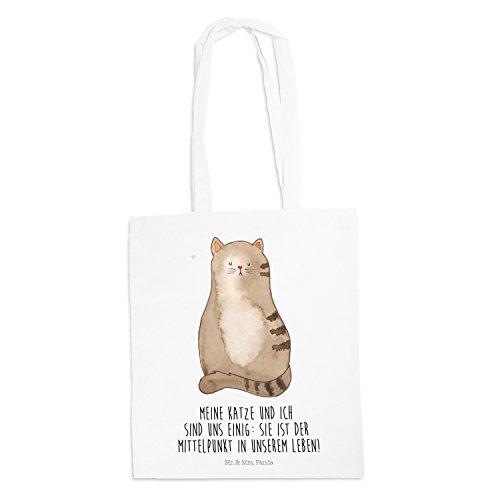 Mr. & Mrs. Panda Tasche, Motiv, Tragetasche Katze sitzend mit Spruch - Farbe Weiß