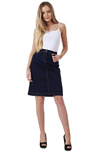 BHS Ladies A-Line Denim Womens Blue Stretch Knee Length Black Midi Skirt