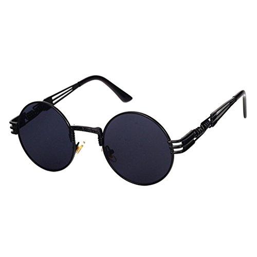 Amlaiworld Mode Kreisförmig Metall Rand Rahmen Sunglasses sommer reflektierenden Polarisierte Linse Sonnenbrille damen herren UV400 outdoor Chic brillen 100% UVA- und UVB-Schutz (G) -
