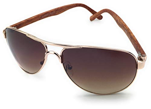 mygoodtime Sonnenbrille Damen Herren Holz Optik Fahrerbrille Pilot Fliegerbrille UV 400 Metallrahmen (Braun Rosegold)