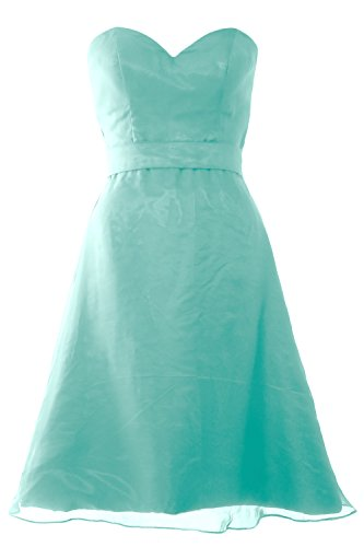 MACloth Women Sweetheart Short Bridesmaid Dress Wedding Party Gown with Sash (EU50, Turquoise) -