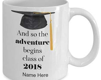 (Graduation gift-And so the Adventure begins class of 2018-personalized coffee mug tea cup gift for high school college grads (11oz))