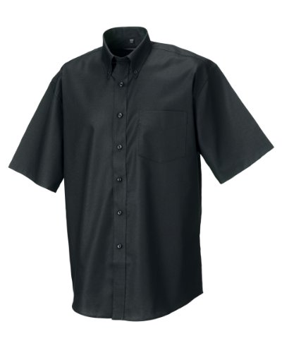 russell-collection-mens-short-sleeve-easy-care-oxford-shirt-19inch-black