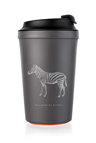 ArtiArt Grau-Zebra Coffee to Go Becher 340 ml mit Magic Grip Pad, kippt Nicht um! Grau Zebra