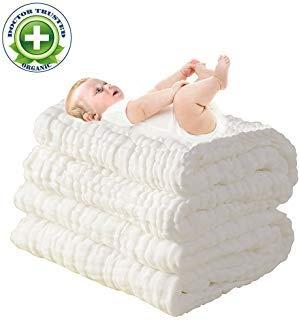 Love My (TM) Naturel Antibacterialâ ¡Ãâ ¢ Super Eau Absorbentâ ¡Ãâ ¢ Breathableâ ¡Ãâ ¢ Super Doux Mousseline de coton bébé Serviettes de bain, réutilisable et lavable, Soin pour la peau de bébé, nouveau-né Mousseline de coton chaud bébé Serviettes de bain également pour les PC de couverture pour bébé – 1